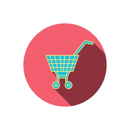 dealings: Shopping cart icon. Market buying sign. Red flat circle button. Linear icon with shadow. Vector Illustration