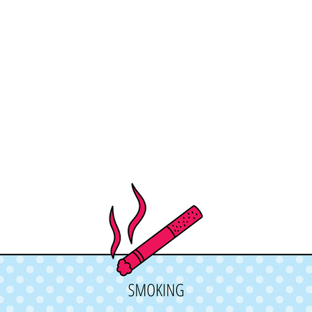 cigar shape: Smoking allowed icon. Yes smoke sign. Circles seamless pattern. Background with red icon. Vector Illustration