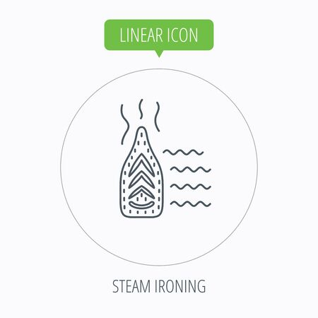 housework: Steam ironing icon. Iron housework tool sign. Linear outline circle button. Vector
