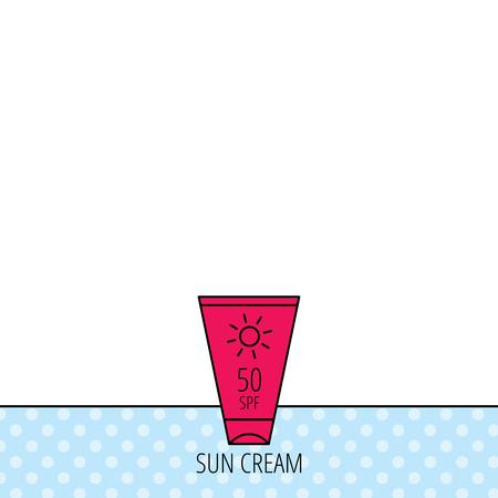 sun lotion: Dom icono de contenedor crema. Signo loci�n Beach. C�rculos sin patr�n. Fondo con el icono rojo. Vector