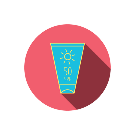 sun lotion: Sun cream container icon. Beach lotion sign. Red flat circle button. Linear icon with shadow. Vector