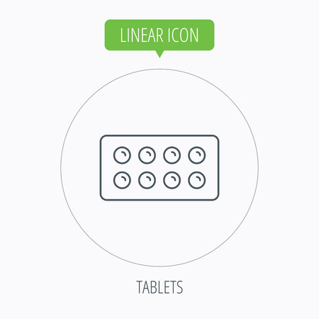 painkiller: Tablets icon. Medical pills sign. Painkiller drugs symbol. Linear outline circle button. Vector Illustration