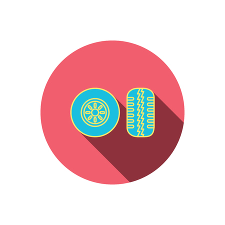 tire tread: Tire tread icon. Car wheel sign. Red flat circle button. Linear icon with shadow. Vector Illustration