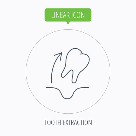 tooth extraction: Tooth extraction icon. Dental paradontosis sign. Linear outline circle button. Vector