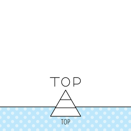 best result: Triangle icon. Top or best result sign. Success symbol. Circles seamless pattern. Background with icon. Vector