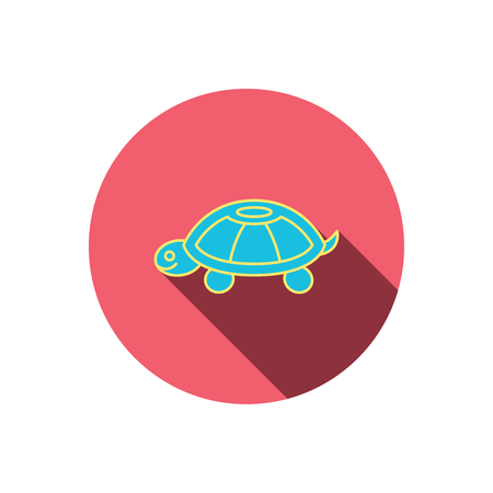 carapace: Turtle icon. Tortoise sign. Tortoiseshell symbol. Red flat circle button. Linear icon with shadow. Vector Illustration