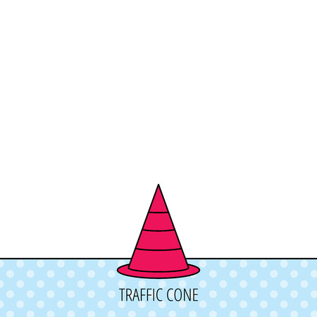 road warning sign: Traffic cone icon. Road warning sign. Circles seamless pattern. Background with red icon. Vector
