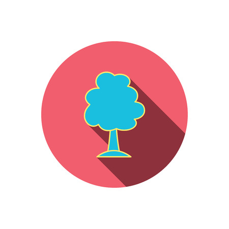 coma: Tree icon. Forest wood sign. Nature environment symbol. Red flat circle button. Linear icon with shadow. Vector Illustration