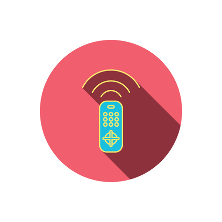 switching: Remote control icon. TV switching channels sign. Red flat circle button. Linear icon with shadow. Vector
