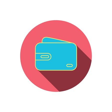 cash money: Wallet icon. Cash money bag sign. Red flat circle button. Linear icon with shadow. Vector Illustration