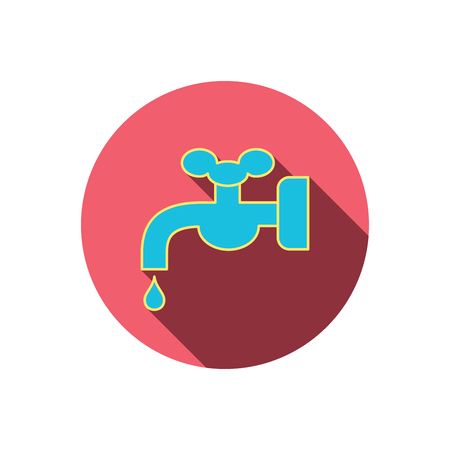 waterworks: Water supply icon. Crane or Faucet with drop sign. Red flat circle button. Linear icon with shadow. Vector