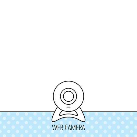 web cam: Web cam icon. Video camera sign. Online communication symbol. Circles seamless pattern. Background with icon. Vector