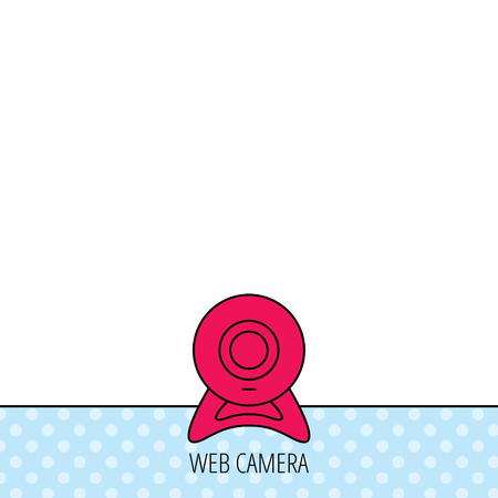 web cam: Web cam icon. Video camera sign. Online communication symbol. Circles seamless pattern. Background with red icon. Vector Illustration
