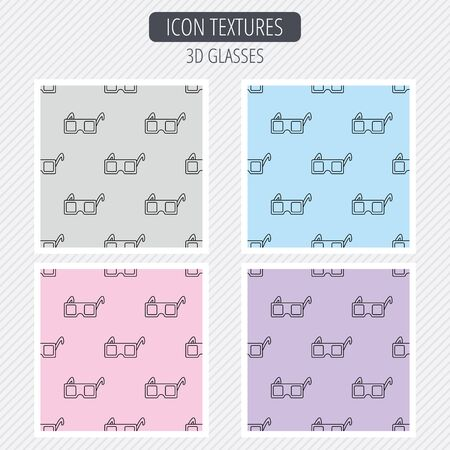 freetime: 3D glasses icon. Cinema technology sign. Vision effect symbol. Diagonal lines texture. Seamless patterns set. Vector