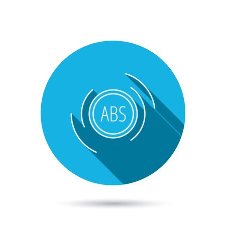 brakes: ABS icon. Brakes antilock system sign. Blue flat circle button with shadow. Vector