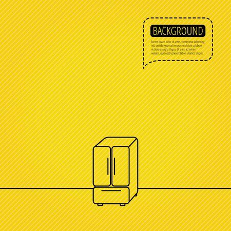 American fridge icon. Refrigerator sign. Speech bubble of dotted line. Orange background. Vector