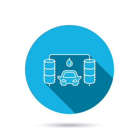 car navigation: Automatic carwash icon. Cleaning station with water drop sign. Blue flat circle button with shadow. Vector