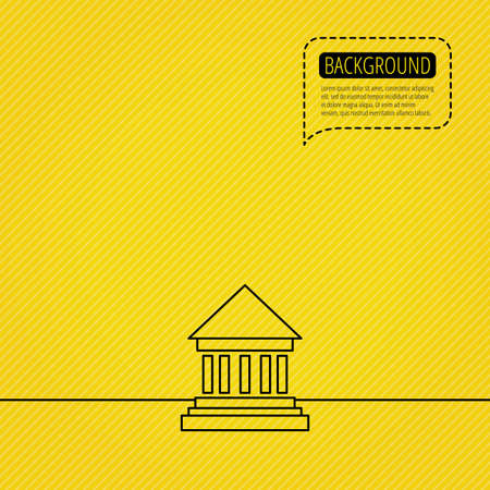 courthouse: Bank icon. Court house sign. Money investment symbol. Speech bubble of dotted line. Orange background. Vector Illustration