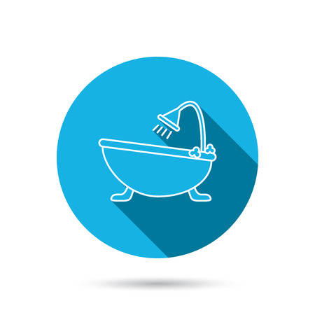 hot tub: Bathroom icon. Bath with shower sign. Blue flat circle button with shadow. Vector