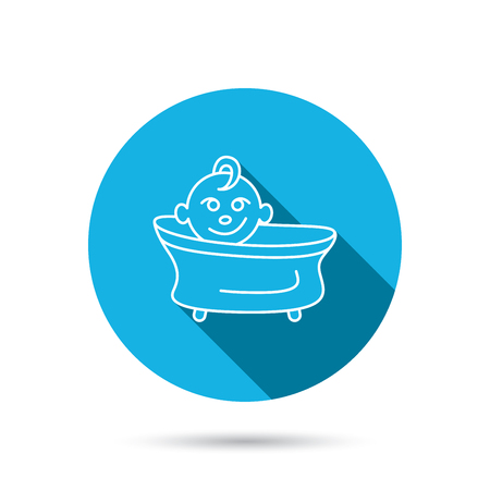 washing symbol: Baby in bath icon. Toddler bathing sign. Newborn washing symbol. Blue flat circle button with shadow. Vector Illustration