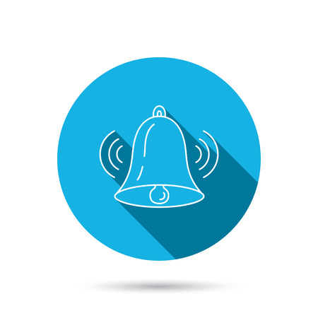 handbell: Ringing bell icon. Sound sign. Alarm handbell symbol. Blue flat circle button with shadow. Vector