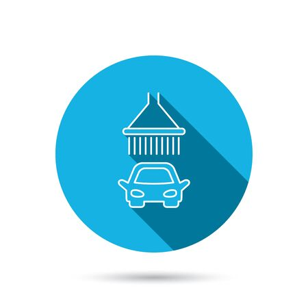 car navigation: Car wash icon. Cleaning station with shower sign. Blue flat circle button with shadow. Vector Illustration