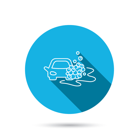 foam bubbles: Car wash icon. Cleaning station sign. Foam bubbles symbol. Blue flat circle button with shadow. Vector
