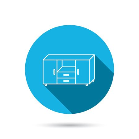 chest of drawers: Chest of drawers icon. Interior commode sign. Blue flat circle button with shadow. Vector