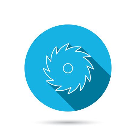 cutoff blade: Circular saw icon. Cutting disk sign. Woodworking sawblade symbol. Blue flat circle button with shadow. Vector Illustration