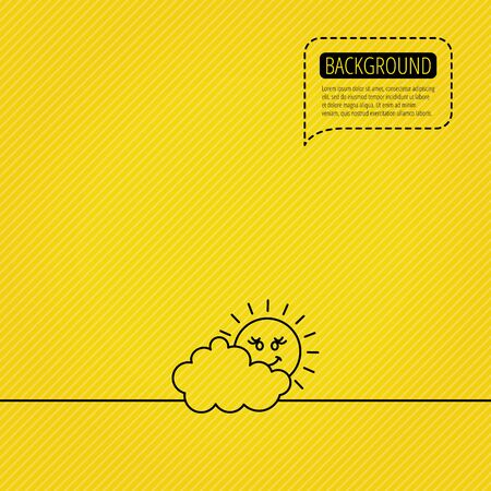 cloudy day: Cloudy day with sun icon. Overcast weather sign. Meteorology symbol. Speech bubble of dotted line. Orange background. Vector