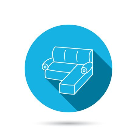 comfortable: Corner sofa icon. Comfortable couch sign. Furniture symbol. Blue flat circle button with shadow. Vector Illustration