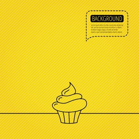 orange cake: Cupcake icon. Dessert cake sign. Delicious bakery food symbol. Speech bubble of dotted line. Orange background. Vector Illustration