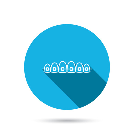 Dental braces icon. Teeth healthcare sign. Orthodontic symbol. Blue flat circle button with shadow. Vector