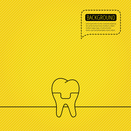 alumina: Dental crown icon. Tooth prosthesis sign. Speech bubble of dotted line. Orange background. Vector