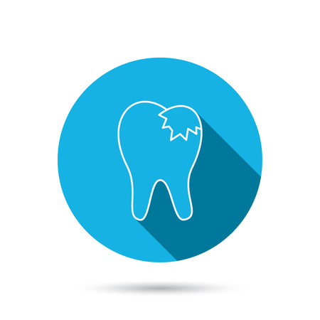 fillings: Dental fillings icon. Tooth restoration sign. Blue flat circle button with shadow. Vector
