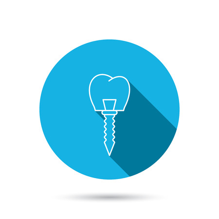 prosthesis: Dental implant icon. Oral prosthesis sign. Blue flat circle button with shadow. Vector Illustration