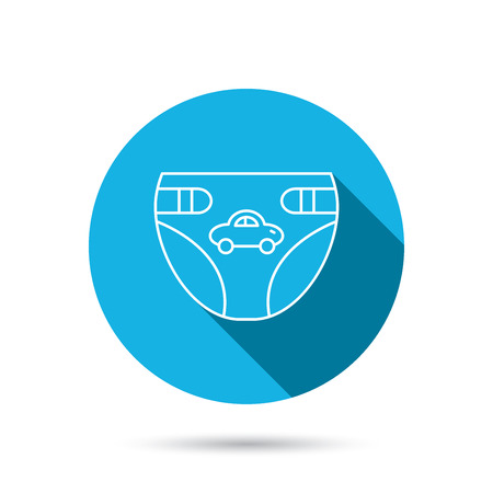 Diaper with car icon. Child underwear sign. Newborn protection symbol. Blue flat circle button with shadow. Vector Illustration
