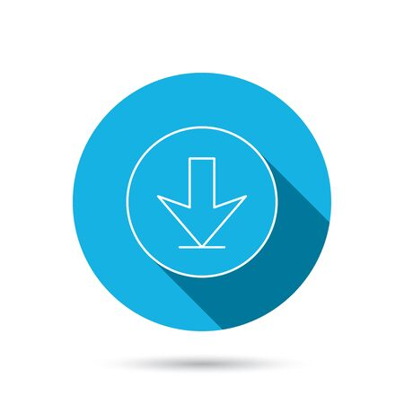 down load: Download icon. Down arrow sign. Internet load symbol. Blue flat circle button with shadow. Vector