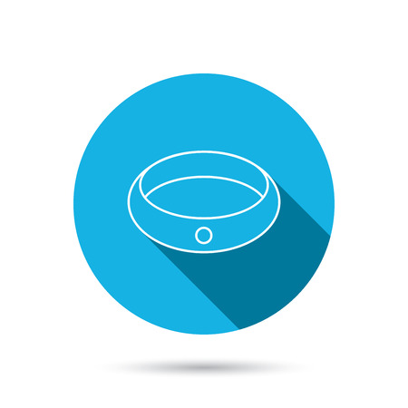 jewelery: Diamond engagement ring icon. Jewelery sign. Blue flat circle button with shadow. Vector Illustration