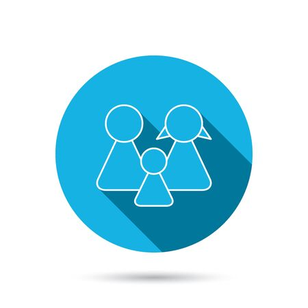 male and female: Family icon. Male, female and child sign. Blue flat circle button with shadow. Vector Illustration