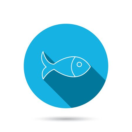 aquaculture: Fish icon. Seafood sign. Vegetarian food symbol. Blue flat circle button with shadow. Vector