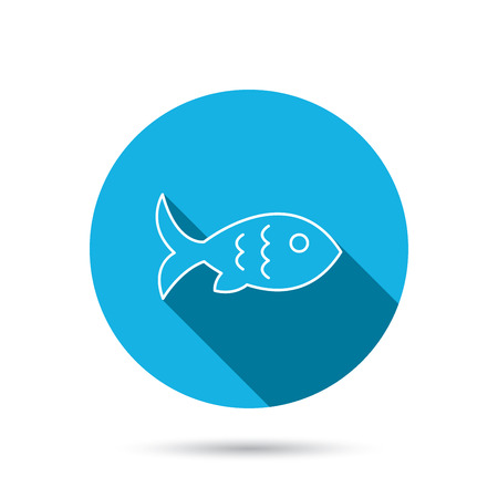 aquaculture: Fish with fin and scales icon. Seafood sign. Vegetarian food symbol. Blue flat circle button with shadow. Vector