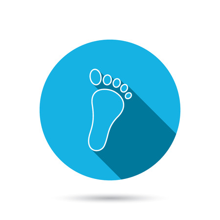 foot step: Baby footprint icon. Child foot sign. Newborn step symbol. Blue flat circle button with shadow. Vector