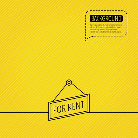 for rent: For rent icon. Advertising banner tag sign. Speech bubble of dotted line. Orange background. Vector