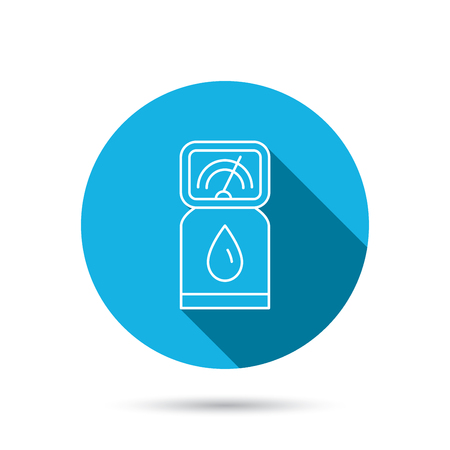 fuel pump: Gas station icon. Petrol fuel pump sign. Blue flat circle button with shadow. Vector Illustration