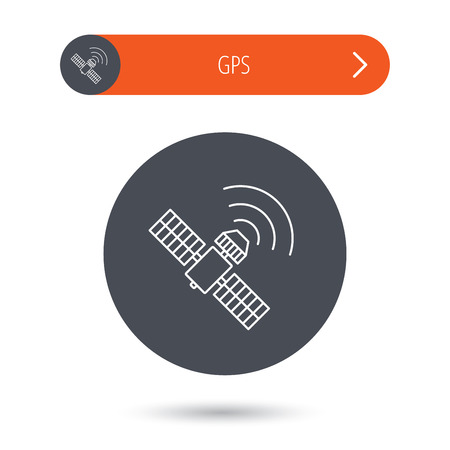 satellite navigation: GPS icon. Satellite navigation sign. Gray flat circle button. Orange button with arrow. Vector