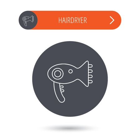 air diffuser: Hairdryer icon. Electronic blowdryer sign. Hairdresser equipment symbol. Gray flat circle button. Orange button with arrow. Vector