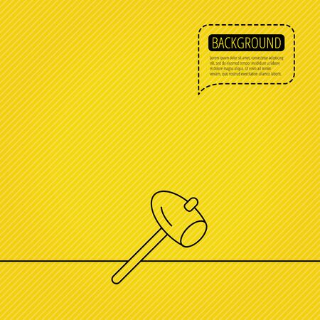 mat�riel chantier: Hammer icon. Repair or fix sign. Construction equipment tool symbol. Speech bubble of dotted line. Orange background. Vector