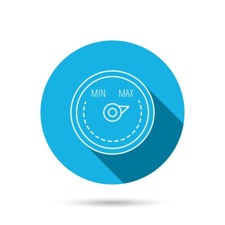regulator: Heat regulator icon. Radiator thermometer sign. Blue flat circle button with shadow. Vector Illustration