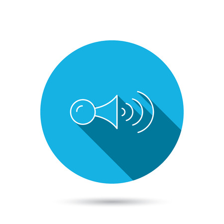 strident: Klaxon signal icon. Car horn sign. Blue flat circle button with shadow. Vector